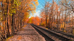 Belvidere Delaware Railroad (Digital Oil Paint) (a2roland) Tags: a2roland a2rolandyahoocom flickr nikon normanzeb normanzeba2rolandyahoocoma2roland photo photography belvidere delaware railroad nj trenton forgotten tracks trains woods trees oil painting expression © norman zeb all rights reserved