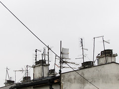 roof (Jasna Cizler) Tags: chimney sky wire cloudy antenna