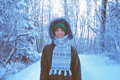 Winter love. (Hello i'm Wild !) Tags: trip travel blue winter selfportrait snow film me nature girl smile analog forest self 35mm myself landscape ride skin hiking patterns hike explore hiker adventures canonae1 beanie happytime lomographycolornegative400