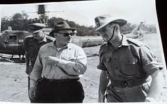 Major-General D. Vincent, Mr. Hasluck and Brigadier Ronald Hughes in Viewnam 1967 (Named Faces from the Past) Tags: war 1967 commander vietnamwar brigadier nuidat hasluck ronaldhughes firstaustraliantaskforce majorgeneraldvincent