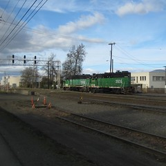 A GP30 & a GP38, both in Cascade Green (Tysasi) Tags: yard island bn cuthbert bnsf permanent sauvie populaire brevet gp38 9100 gp30 binns randonneuring willbridge