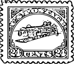 Inverted 24¢ Jenny Air Mail Vector (sjrankin) Tags: error edited stamp usps grayscale vector airmail 24¢ 18february2015