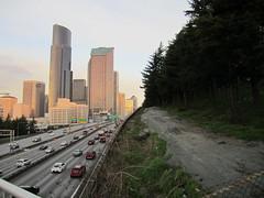 I-5 northbound from Yesler Way (SounderBruce) Tags: seattle skyline i5 freeway gravel interstate5 seattlemunicipaltower columbiacenter yeslerway