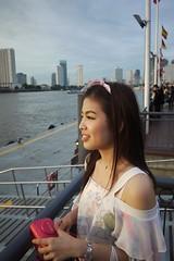 Sunset reunion. Asiatique, Bangkok (JamieAiken) Tags: city sunset reunion beautiful skyline river thailand lumix bangkok panasonic watersedge beautifulgirl asiatique thaigirl gf1