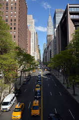 42nd St via Tudor City bridge (gibbon44) Tags: road usa newyork building cars town manhattan taxis chryslerbuilding rue voitures