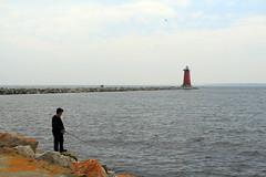 021LvAd Fishing the Pier (jgagnon63@yahoo.com) Tags: lighthouse up michigan lakemichigan upperpeninsula uppermichigan redlighthouse manistique schoolcraftcounty manistiquelighthouse canonsl1 manistiqueeastbreakwaterlightstation