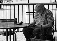 A good book and a Coke, Morton Arboretum. (EOS) (Mega-Magpie) Tags: people bw usa white man black guy monochrome america canon outdoors person eos book illinois drink dupage coke arboretum dude il morton lisle 60d
