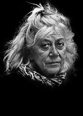 Portrait (D80_443213) (Itzick) Tags: portrait woman face blackbackground scarf copenhagen denmark candid d800 bwportrait itzick