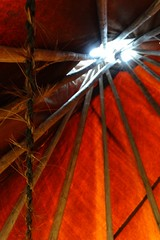 Looking Up Inside a Tipi at Buffalo Bill's Wild West Show at Wade House Historic Site, Greenbush, WI 06/04/2016 1:31PM (Craig Walkowicz) Tags: tipi nativeamerican poles canvas rope oldwest wildwest ccw