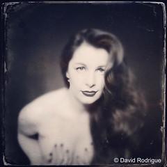 Rodrigue 8 (NolaChick) Tags: blackandwhite sexy film vintage photography model modeling neworleans longhair pale retro redlips nola brunette curlyhair pinup implied nolachick daverodrigue