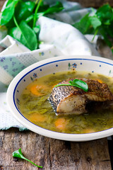 Soup with a sorrel and fish. Selective focus. (Zoryanchik) Tags: food fish green grass lunch soup wooden leaf spring healthy dish traditional egg cream bowl vegetable meal vegetarian organic diet parsley sour liquid herb spinach sorrel
