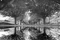 double trouble (maekke) Tags: bw woman man reflection switzerland couple noiretblanc pointofview fujifilm zrich ch zrichsee 2016 brkliplatz puddlegram x100t