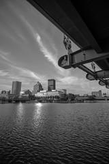 (wickedmartini) Tags: bridge blackandwhite monochrome architecture clouds buildings roc cityscape dof wideangle rochesterny geneseeriver 1835mmf3545g iamnikon nikond610