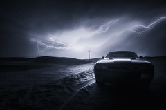 Striking Challenger (Waheed Akhtar Photography) Tags: longexposure nightphotography travel sky storm car rain night clouds canon nightscape desert uae abudhabi dodge strike thunderstorm lightning thunder unitedarabemirates challenger musclecar carphotography emptyquarter dodgechallenger rubalkhali canon6d waheedakhtar