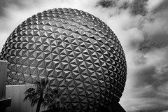 Spaceship Earth (Daren N.) Tags: world sky bw white black tree geometric clouds triangles epcot florida earth disney palm dome spaceship