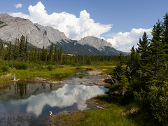 One of my favourite views (annkelliott) Tags: alberta canada wofcalgary bowvalleyprovincialpark manyspringstrail mtyamnuska kananaskis kcountry nature landscape scenery view mountains pond water creek trees forest clouds reflections outdoor summer 28june2016 fz200 fz2003 annkelliott anneelliott anneelliott2016 allrightsreserved