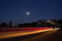 Trails by night (paraBID) Tags: longexposure bridge blue light sky moon maastricht exposure outdoor trails