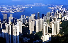 Hong Kong 1985, Peak Victoria View (gerard eder) Tags: world china city travel skyline puerto hongkong harbor asia harbour outdoor hong kong ciudades viajes hafen stdte reise metropole megacity peakvictoria easternasia oldskyline historicskyline