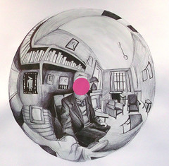 Hand with Reflecting Sphere. (roz_tod) Tags: pink white black illustration pen ball project grey reflecting mirror acrylic drawing room fisheye sphere shade bubble escher exam remake biro