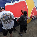 Crews work on the Red Bull arch
