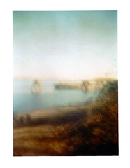Kelly Point Fade Away (Dead  Air) Tags: park sky sunlight beach holga haze faded overexposed fading hazy willametteriver buoy disappearing kellypointpark kellypoint