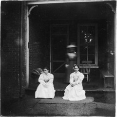Three women on a welcoming back porch (Meyersdale Public Library) Tags: people women 1900s 1890s 1880s porches photobox12 cookalbum
