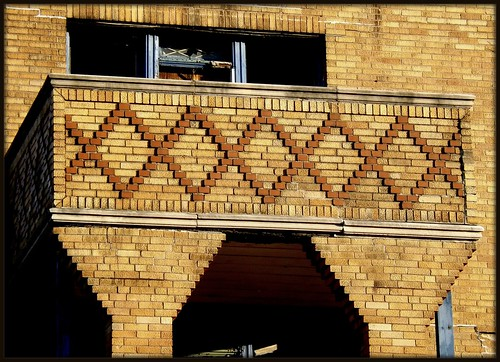 Laredo Apartments: Brickwork at Balcony, 2749 Elmhurst--Detroit MI
