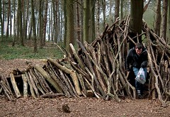 Den in the Woods (fayeox) Tags: boy sticks woods den logs fujifilm nofilter beaconhillcountrypark finepixhs10hs11