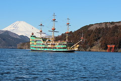 Ashinoko (lake) at Hakone, Japan (Pam Ondera) Tags: lake japan boat shrine fuji mt hakone  jinja ashi  komagatake