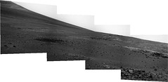 Hill in Endeavour Crater (sjrankin) Tags: panorama opportunity mars rocks edited hill nasa grayscale endeavourcrater 20may2013