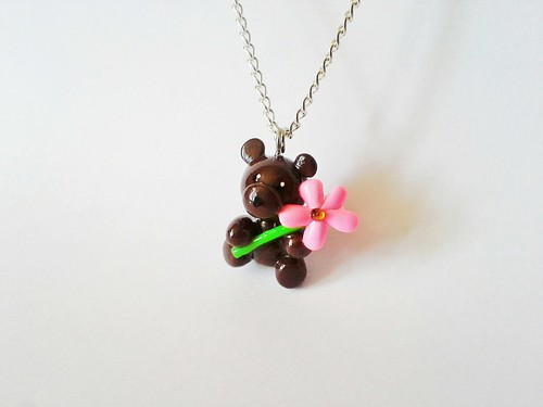 Pink Flower Bear Necklace