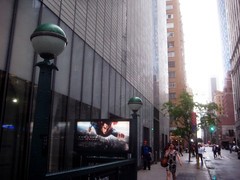 Superman 0370 (Brechtbug) Tags: street new york city nyc blue red man work dark comics painting movie poster square book dc paint theater comic near steel character alien bat working broadway s superman billboard advertisement adventure hero superhero billboards knight worker shield times insignia krypton 46th 2013