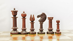 chessbazaar (chessbazaar) Tags: wood india rose set wooden box antique indian picture chess knight bud triple chessset chesspieces weighted chessbaz