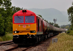 DB Schenker Tug 60020 Northbound on tankers, Stagholt, Stonehouse (KPAR UK Photography) Tags: uk trees summer england sky rural train canon landscape countryside colours diesel action rail railway loco gloucestershire hills locomotive tug freight tankers stonehouse 500d class60 2013 60020 dbschenker