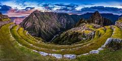 Agricultural Terracing of Machu Picchu at sunrise (tmo-photo) Tags: mountains peru machu inca sunrise river ruins angle fav50 cloudy cusco wide fav20 panoramic pichu jungle valley machupicchu fav30 sacredvalley incan fav10 fav40