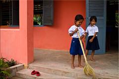 Sweeping (Ursula in Aus) Tags: school girls cambodia khmer siemreap earthasia sandanschool