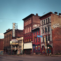 Garden Theater Block, Pittsburgh (deatonstreet) Tags: 120 film architecture ruins pittsburgh pennsylvania historic storefront northside automat flexaret mexicanwarstreets gardentheater kodakektar100