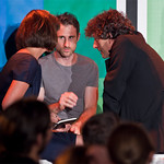 A huddle of Literary Death Match judges: Dawn O'Porter, Craig Silvey and Neil Gaiman