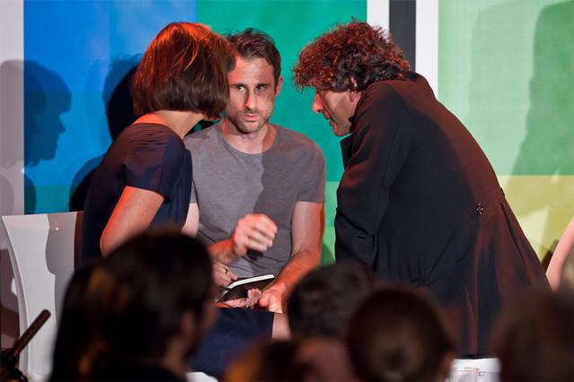 A huddle of Literary Death Match judges: Dawn O'Porter, Craig Silvey and Neil Gaiman