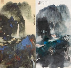 The Heavenly Place in Mankind World by Zhang Daqian dated 1982 張大千1982年作人家在仙堂潑彩山水圖 and Hermit Landscape by Zhang Daqian dated 1966 與張大千1966年作山居圖