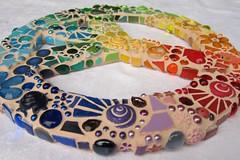Mosaic Peace Sign III (Waschbear - Frances Green) Tags: flowers rainbow mosaic mixedmedia ladybird iridescent swirls colourful peacesign nuggets jewel glassmosaic piecemakers