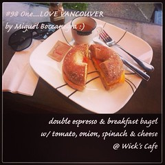 | no.98 | | double espresso - breakfast bagel @ Wick's Cafe | (onemillionreasonstolovevancouver) Tags: world city people food tourism home promotion vancouver cool realestate profile today l4l vancity downtownvancouver metrovancouver onemillion cityofvancouver vancouverite vancouvercity vancouverrestaurants vancouvertourism vancouverrealestate vanone awesomevancouver instaphoto instagood instafollow uploaded:by=flickrmobile flickriosapp:filter=nofilter miguelboccanegra thegreatervancouverarea