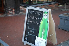 Sign outside the Hawk 'n' Dove restaurant ahead of the Obama inauguration. (gjbarb) Tags: bar washingtondc dc obama capitolhill inauguration hawkndove