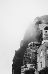 Cliffside Living (Nick Crowe) Tags: trees houses windows roof sky blackandwhite italy cliff cloud mist mountain rock fog canon island capri canon500d