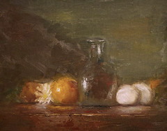 Glass with Eggs (Candice_paint) Tags: life glass tangerine still shelf clear daisy eggs