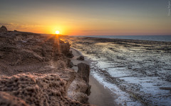 Sunset on Finucane (PerthSteve) Tags: ocean sunset sun rock reflections australia flare wa lowtide reef westernaustralia hdr pilbara porthedland finucane canon550d