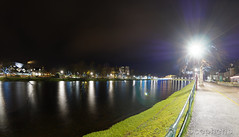 Eden Court & cathedral (D1224598raw 0p5-average E-M1 8.0mm iso200 f4.0 5s) (Mel Stephens) Tags: uk bridge winter light panorama reflection water night river geotagged scotland long exposure january olympus structure fisheye nighttime le gps 35 8mm zuiko stitched inverness ness 43 2014 q1 f35 ptgui fourthirds 201401 20140122