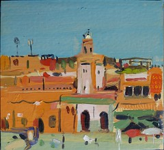 Marrakesh, little mosque in the market square (tadeusz dergowski) Tags: travel architecture painting landscape northafrica morocco oil impressionism pochade