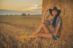 Beautiful Cowgirl in hay (nebojsa.bobic) Tags: portrait woman nature girl beautiful beauty hat yellow outside natural outdoor desire hay cowgirl sensuality realpeople