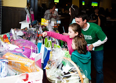 Checking Out the Raffle Prizes